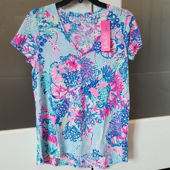 NWT Lilly Pulitzer Etta top multi beach you to it